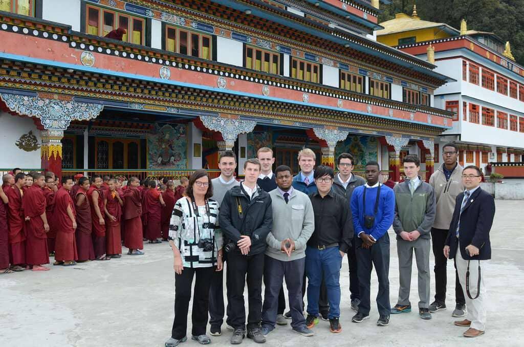 Group at a Tibetan Buddhist monastery in Dali Darjeeling India