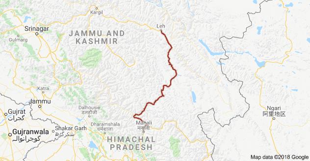 Leh- Manali Route   Google Maps
